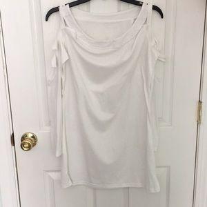 White open shoulder long sleeve